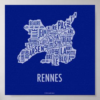 Mapa de Rennes Francia Posters