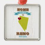 Mapa de Reno, Nevada - casero es donde está el Adorno Navideño Cuadrado De Metal