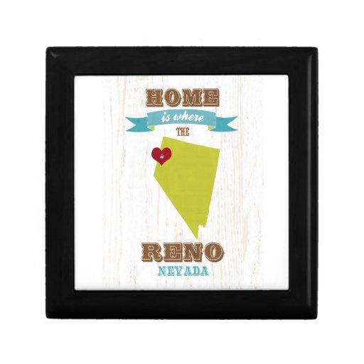 Mapa de Reno, Nevada - casero es donde está el cor Joyero Cuadrado Pequeño