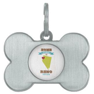 Mapa de Reno, Nevada - casero es donde está el cor Placa Mascota