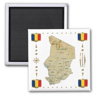 Mapa de República eo Tchad + Imán de las banderas