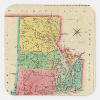 Mapa de Rhode Island Pegatina Cuadrada