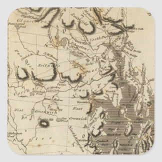 Mapa de Rhode Island por Arrowsmith Pegatina Cuadrada