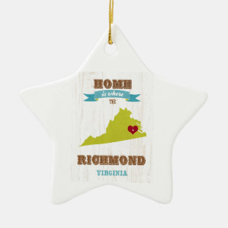 Mapa de Richmond, Virginia - casero es donde Adorno De Cerámica En Forma De Estrella