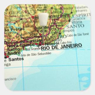 Mapa de Río de Janeiro Pegatina Cuadrada