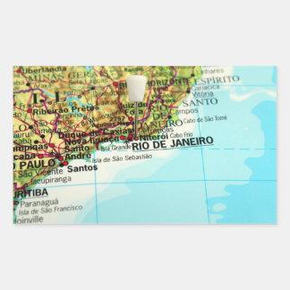 Mapa de Río de Janeiro Pegatina Rectangular