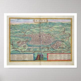 """Mapa de Roma, de """"Civitates Orbis Terrarum"""" por GE Impresiones"""