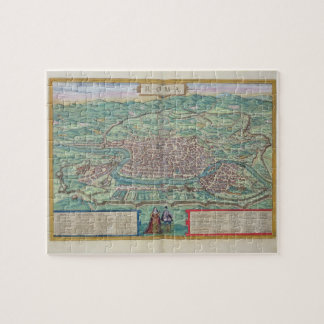 "Mapa de Roma, de ""Civitates Orbis Terrarum"" por GE Rompecabeza"
