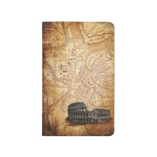 Mapa de Roma y diario viejos del bolsillo de Colos Cuaderno