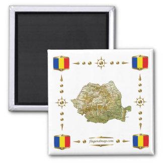 Mapa de Rumania + Imán de las banderas