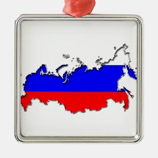 Mapa de Rusia Adorno Cuadrado Plateado