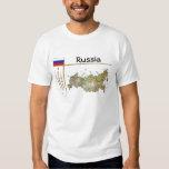 Mapa de Rusia + Bandera + Camiseta del título Playeras