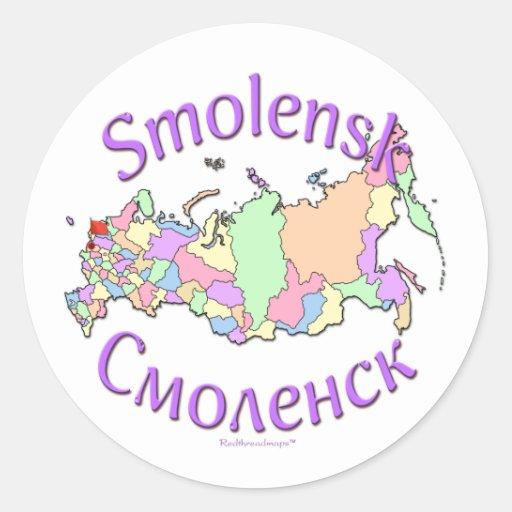 Mapa de Rusia de la ciudad de Smolensk Etiquetas Redondas