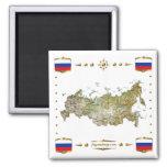 Mapa de Rusia + Imán de las banderas