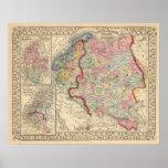 Mapa de Rusia, Suecia, Noruega de Mitchell Poster