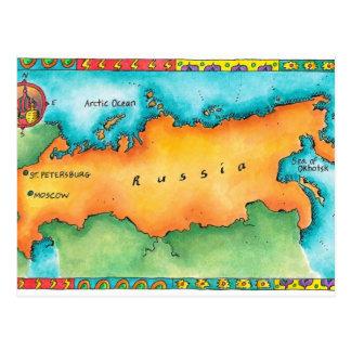 Mapa de Rusia Tarjeta Postal