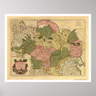 Mapa de Rusia y de Siberia 1706 Póster