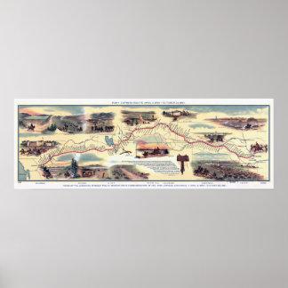 Mapa de ruta de Pony Express Póster