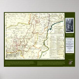 Mapa de ruta del Don Quijote - Cervantes Poster