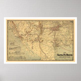 Mapa de ruta del ferrocarril de Santa Fé 1888 Impresiones