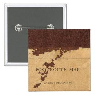Mapa de ruta del poste del territorio de Dakota Pin Cuadrada 5 Cm