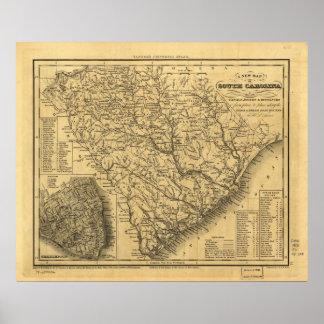 Mapa de rutas de 1833 carriles y de nave de Caroli Póster