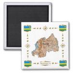 Mapa de Rwanda + Imán de las banderas