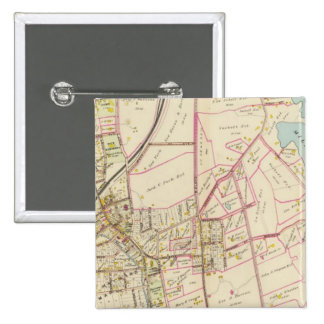 Mapa de Rye, Nueva York Pin Cuadrado