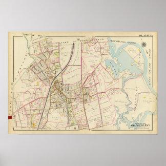 Mapa de Rye, Nueva York Póster