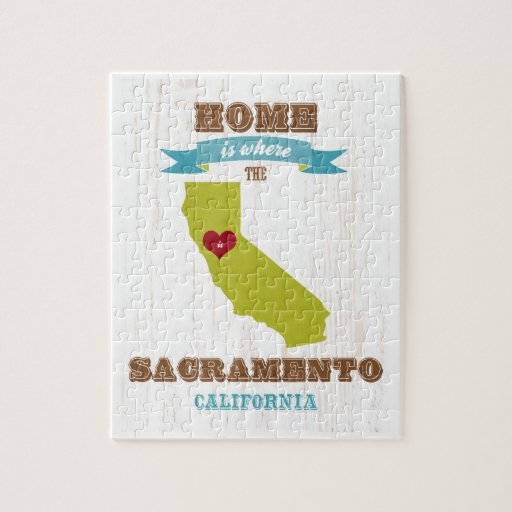 Mapa de Sacramento, California - casero es donde Puzzles Con Fotos