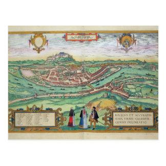 "Mapa de Salzburg, de ""Civitates Orbis Terrarum"" b Postales"