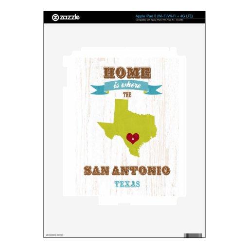 Mapa de San Antonio, Tejas - casero es donde está  iPad 3 Pegatinas Skins