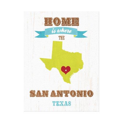 Mapa de San Antonio, Tejas - casero es donde está  Impresion De Lienzo