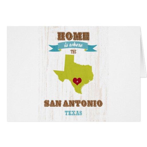 Mapa de San Antonio, Tejas - casero es donde está  Tarjetón