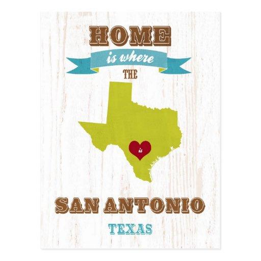 Mapa de San Antonio, Tejas - casero es donde está  Tarjeta Postal