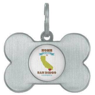Mapa de San Diego, California - casero está donde  Placa De Nombre De Mascota