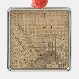 Mapa de San Francisco Adorno Cuadrado Plateado
