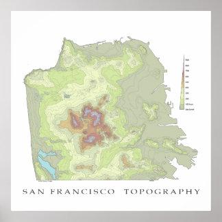 Mapa de San Francisco Topo - 24x24 blanco Impresiones