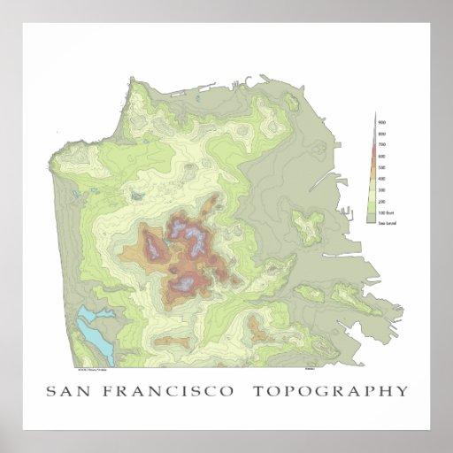 Mapa de San Francisco Topo - 24x24 blanco Póster