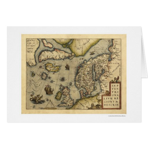 Mapa de Scandanavia por Ortelius 1570 Felicitacion