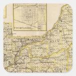 Mapa de Schuyler, albañil, Brown Pegatinas Cuadradases Personalizadas