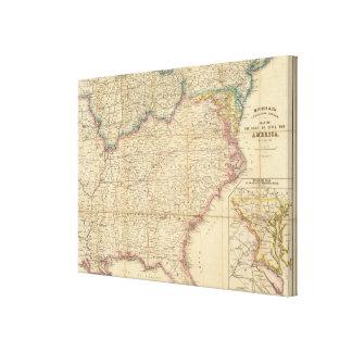 Mapa de Seat de la guerra civil en América Impresión En Lienzo