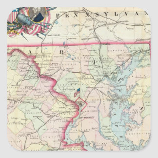 Mapa de Seat de la guerra Pegatina Cuadrada