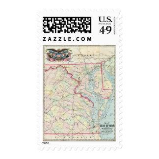 Mapa de Seat de la guerra Timbre Postal