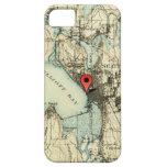 Mapa de Seattle del vintage con el marcador de la iPhone 5 Carcasa