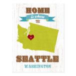 Mapa de Seattle, Washington - casero es donde Tarjeta Postal