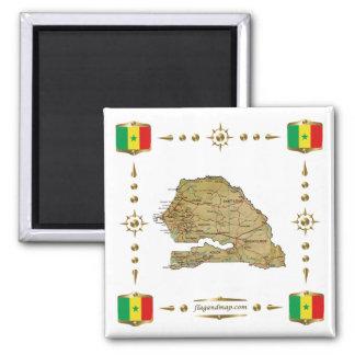 Mapa de Senegal + Imán de las banderas