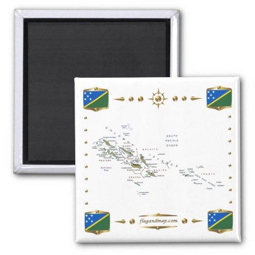 Mapa de Solomon Island + Imán de las banderas