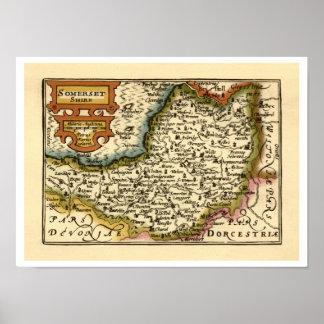 """Mapa de """"Somersetshire"""" el condado de Somerset Póster"""