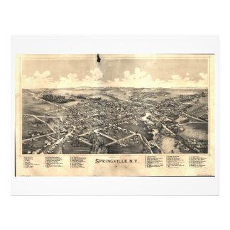 Mapa de Springville Nueva York (1892) Membrete A Diseño